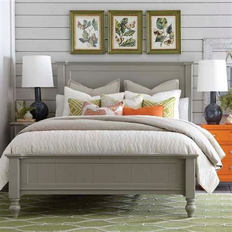 queen size cottage style panel bed  grey