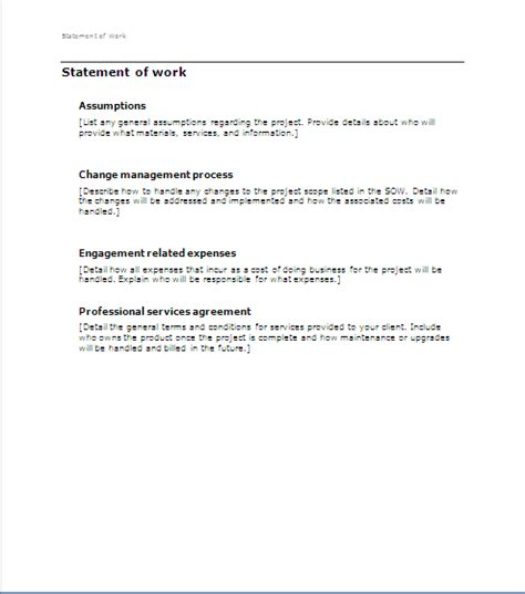 project management sow statement of work