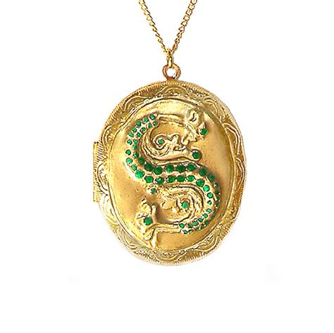 harry potter slytherin ornate horcrux locket with gold