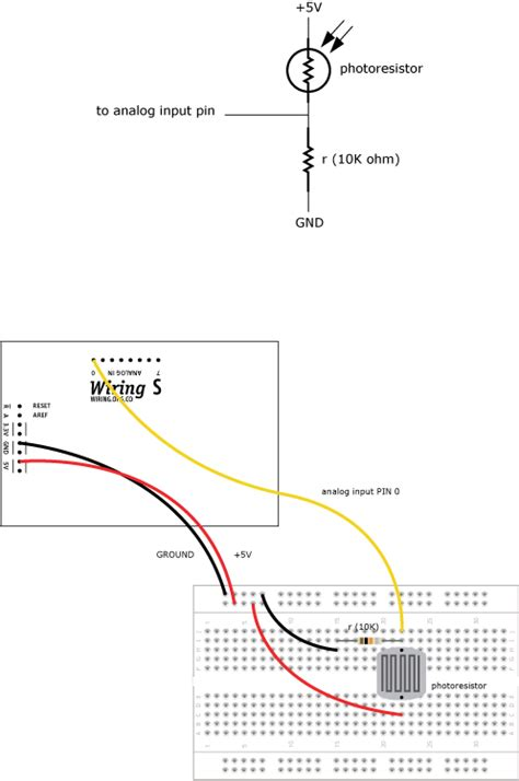 photoresistor range lightprocessing learning wiring
