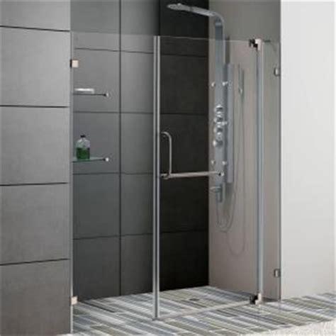 Vigo Shower Door Installation Vigo Pirouette 66 In X 72 In Adjustable Semi Framed Pivot Shower Door In Brushed Nickel With