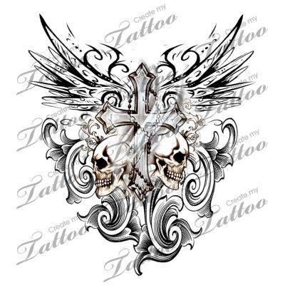 gothic cross tattoo cross with tribal wings and skulls design