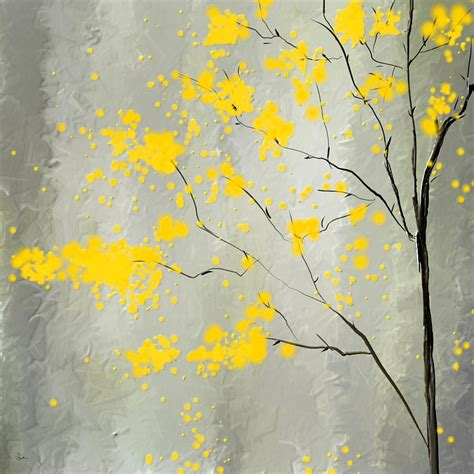 yellow and grey yellow foliage impressionist painting by lourry legarde