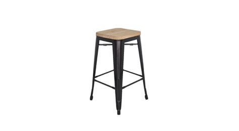 replica kitchen stool with wooden seat