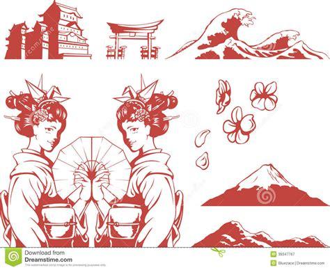 japanese pattern vector illustration japanese set girl in kimono sakura mountain c stock