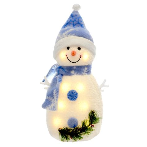 Snowman Decoration White light up snowman warm white leds snowflake