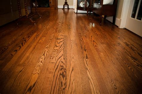 Solid Red Oak flooring, stained spice brown