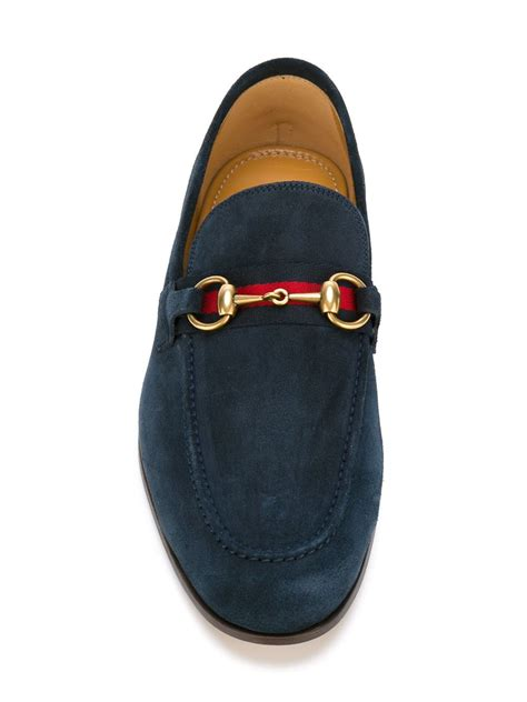 suede gucci loafers lyst gucci suede loafers in blue for
