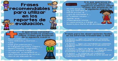 ejemplo de reporte de evaluacion de preescolar por cos frases recomendables para utilizar en los reportes de