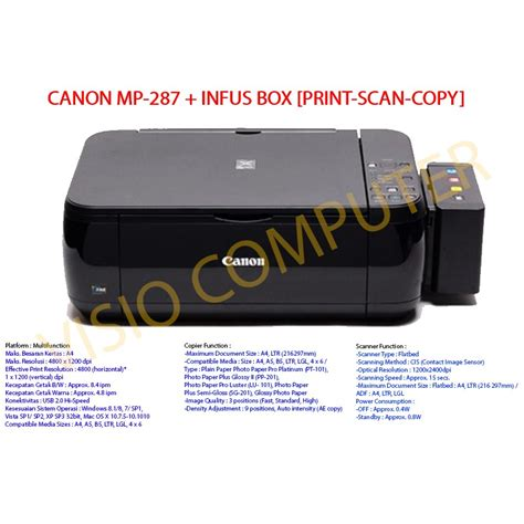 Printer Canon Mp287 Infus murah printer canon mp287 infus box print scan