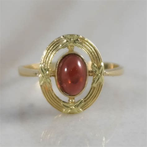 18k yellow gold garnet antique ring attos antique