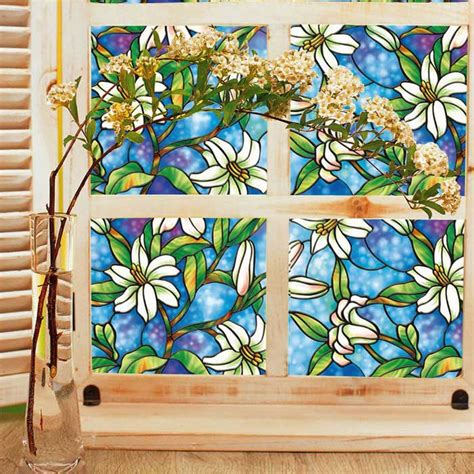 Wallpaper Sticker Vintage Flower 45 Cm X 10 Mtr Wall Stiker non adhesive frosted window static cling privacy