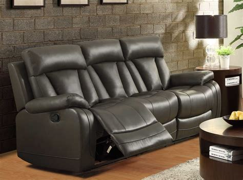 Grey Leather Reclining Sofa Homelegance Ackerman Reclining Sofa Grey Bonded Leather Match 8500gry 3 At Homelement