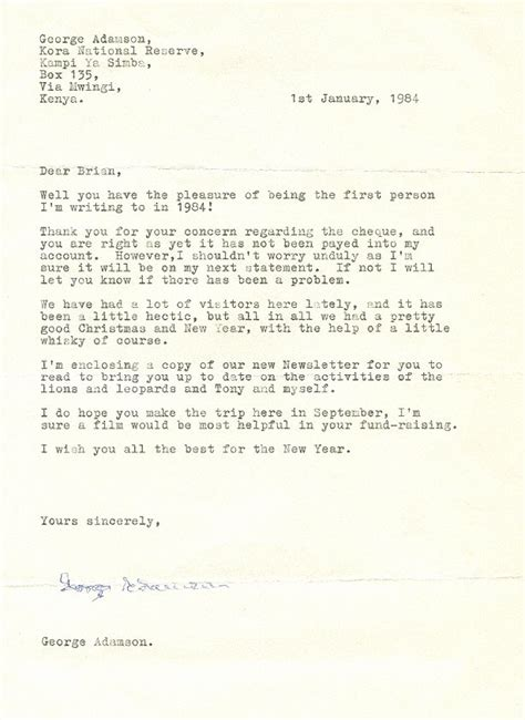 New Financial Year Letter George Adamson Letters