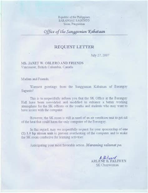 Aircon Service Request Letter Sagunto Request For Air Conditioning Unit From Sk