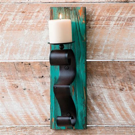 turquoise wood wall candle holder