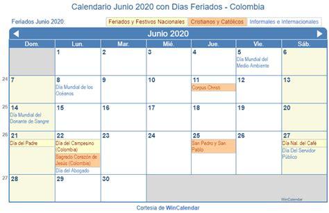 calendario junio de  colombia calendario