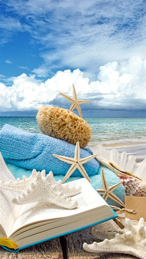 wallpaper for iphone 6 tumblr summer 人気44位 summer beach book seashells sea stars iphone 6 plus