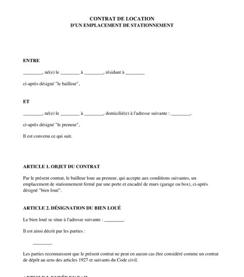 modele bail garage location document