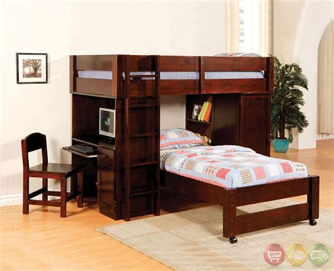Harford I Dark Walnut Junior Loft Bed Set With Built In Bunk Bed With Built In Desk