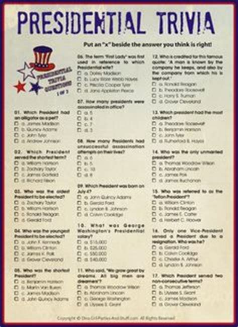 printable presidential trivia for president s day independence day patriotic
