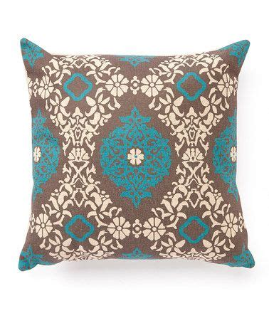 silverlooms turquoise brown damask throw pillow home