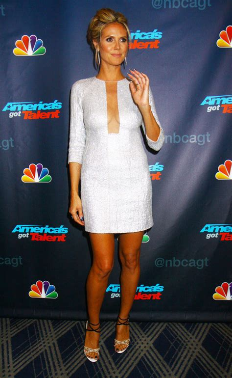 heidi klums cleavage steals  show  americas  talent hollywood life