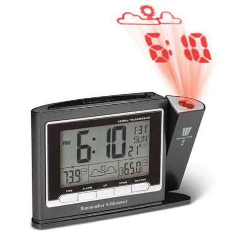 hammacher schlemmer 90395 projection dual alarm clock weather monitor vitality