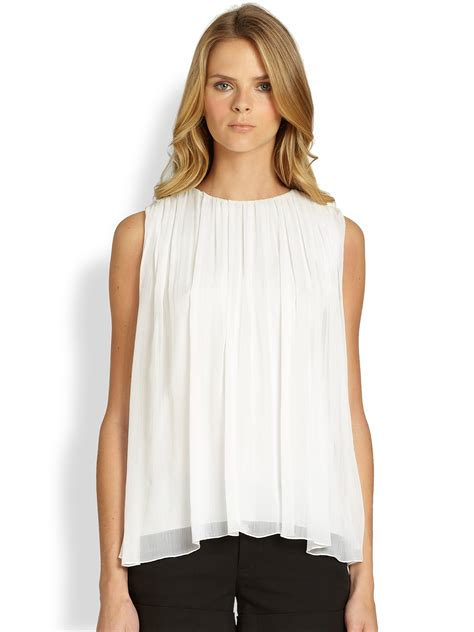 Gathered Top lyst gathered neck tank top in white