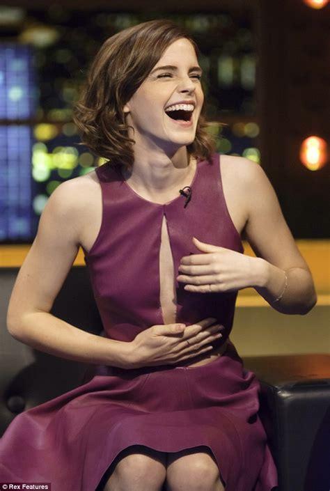 emma watson tv shows emma watson shows off risque purple leather slit dress on