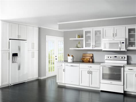 Colored Appliances That Trump Stainless Steel Warner White Kitchen Cabinets With Stainless Steel Appliances