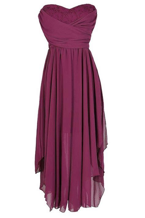 Strapless Chiffon Midi Dress berry purple chiffon and lace midi dress berry purple