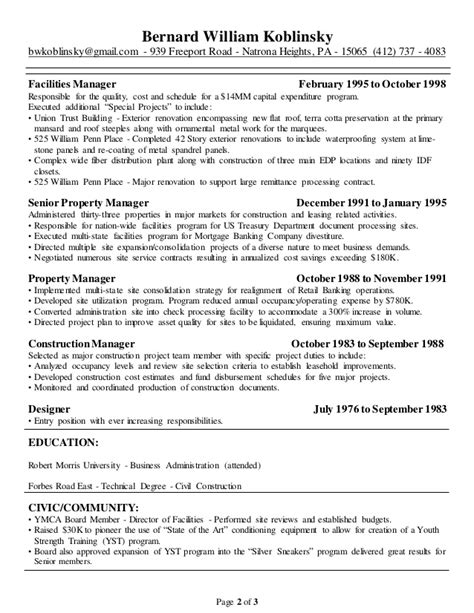 Facilities Coordinator Sle Resume by Facilities Coordinator Resume 28 Images Search Results For Facilities Manager Resume