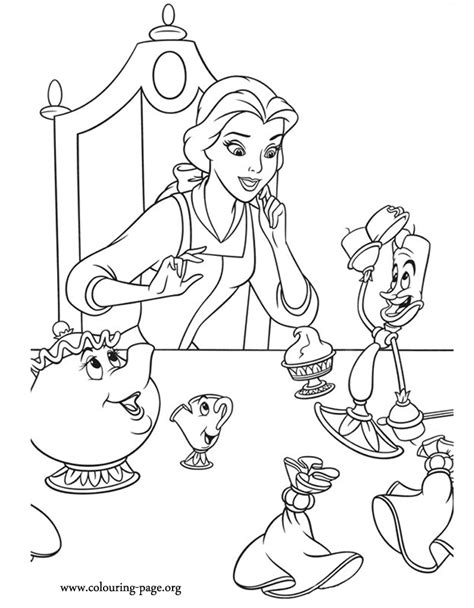beauty and the beast lumiere coloring pages beauty and the beast belle talking with mrs potts chip