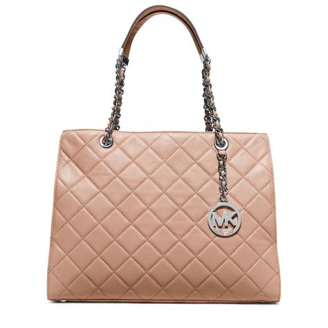 Quilted Leather Bag by Michael Kors Susannah Large Quilted Leather Tote In Brown