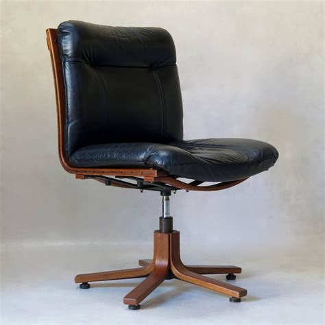 scandinavian leather office chairs pair of scandinavian leather and plywood desk chairs