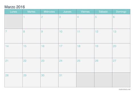 Calendario De Marzo Calendario Marzo 2016 Para Imprimir Icalendario Net