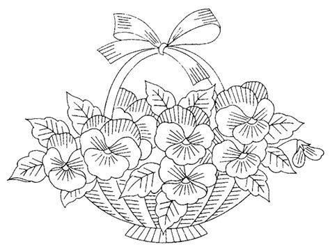 printable basket with flowers floral basket embroidery or redwork embroidery designs