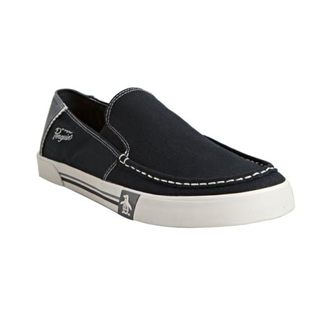 penguin loafers original penguin navy canvas and suede ernie slip on