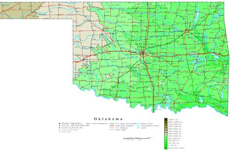 roadmap of oklahoma oklahoma contour map