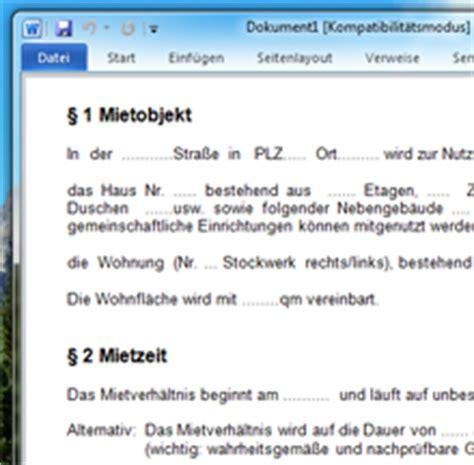 Word Vorlage Mietvertrag Mietvertrag Vorlage F 252 R Word Chip