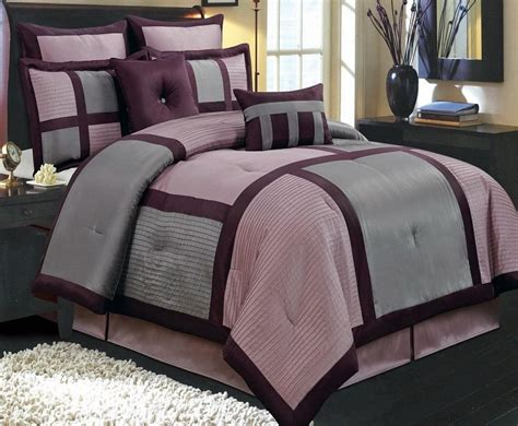 12pc modern grey purple block bedding comforter bed in a