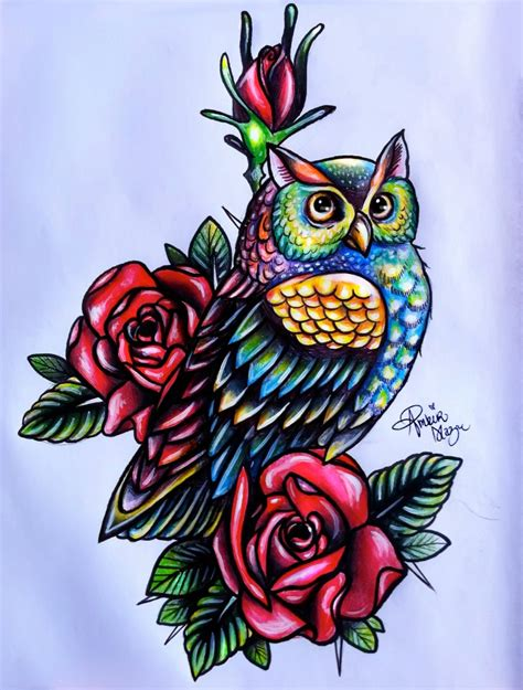 owl with roses tattoo owl designs ideas photos images pictures popular