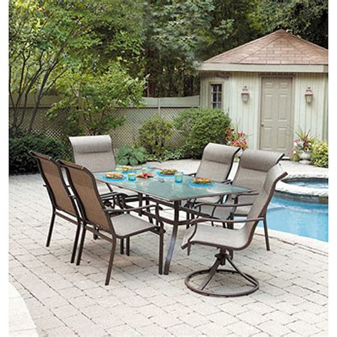 walmart patio dining set mainstays york 7 patio dining set seats 6 walmart