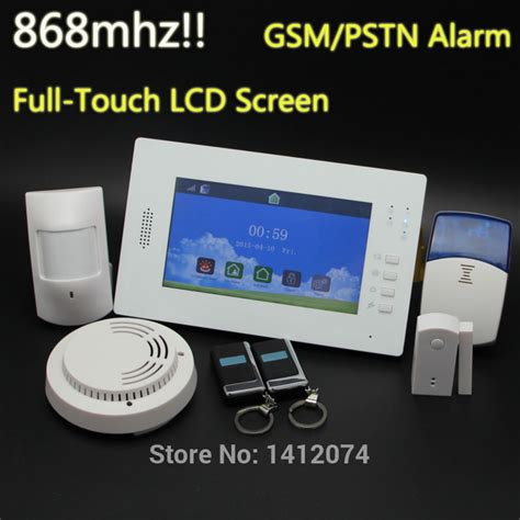 app operated 7 inch touch screen gsm home alarm system