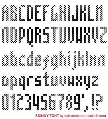 cross stitch pattern fonts pdf skinny font subversive cross stitch
