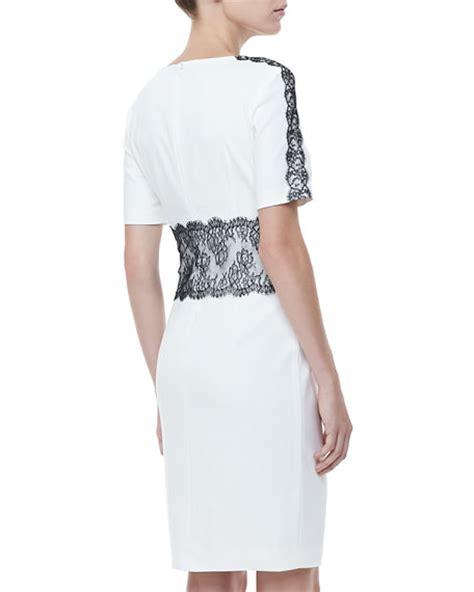 20238 White Half Lace Sleeve escada lace trim half sleeve dress white black