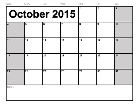 2015 monthly calendar template printable october 2015 calendar printable template 8 templates