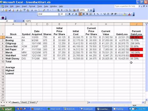 Stocks Spreadsheet microsoft excel setting up stocks spreadsheet