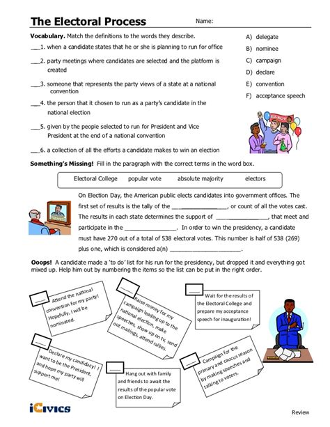 icivics cabinet building worksheet answers electoral process icivics